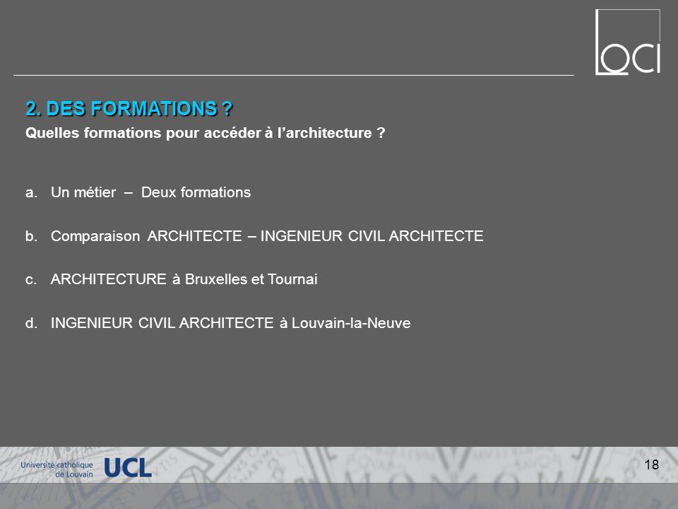 2.DES FORMATIONS . Quelles formations pour accéder à larchitecture .