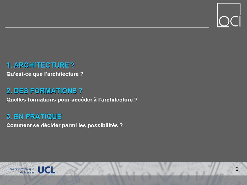 1.ARCHITECTURE . Quest-ce que larchitecture . 2. DES FORMATIONS .