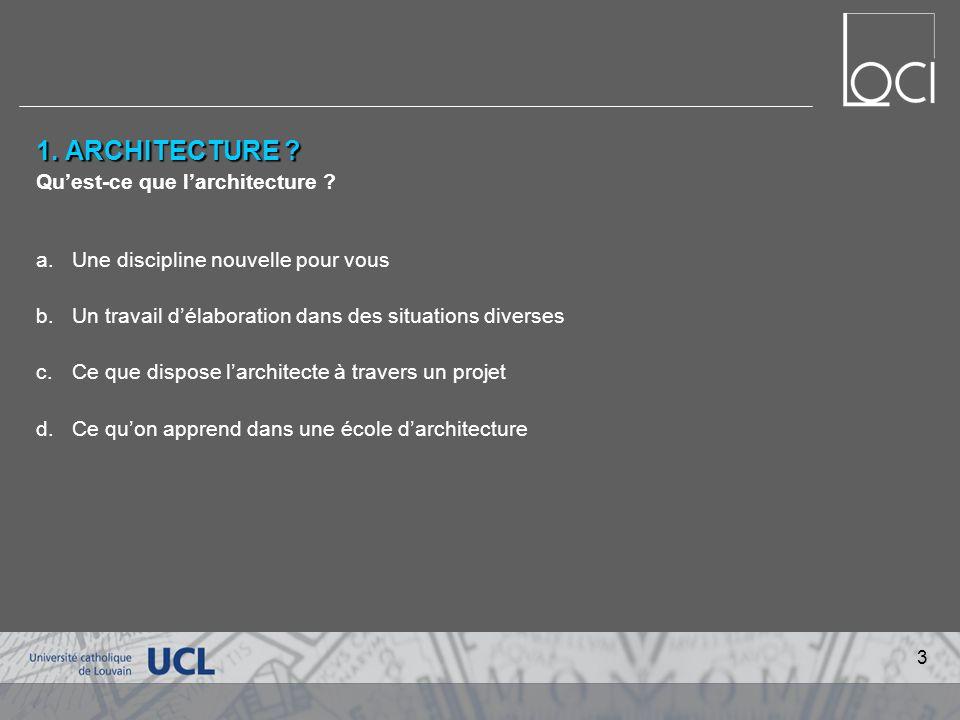 1.ARCHITECTURE . Quest-ce que larchitecture .