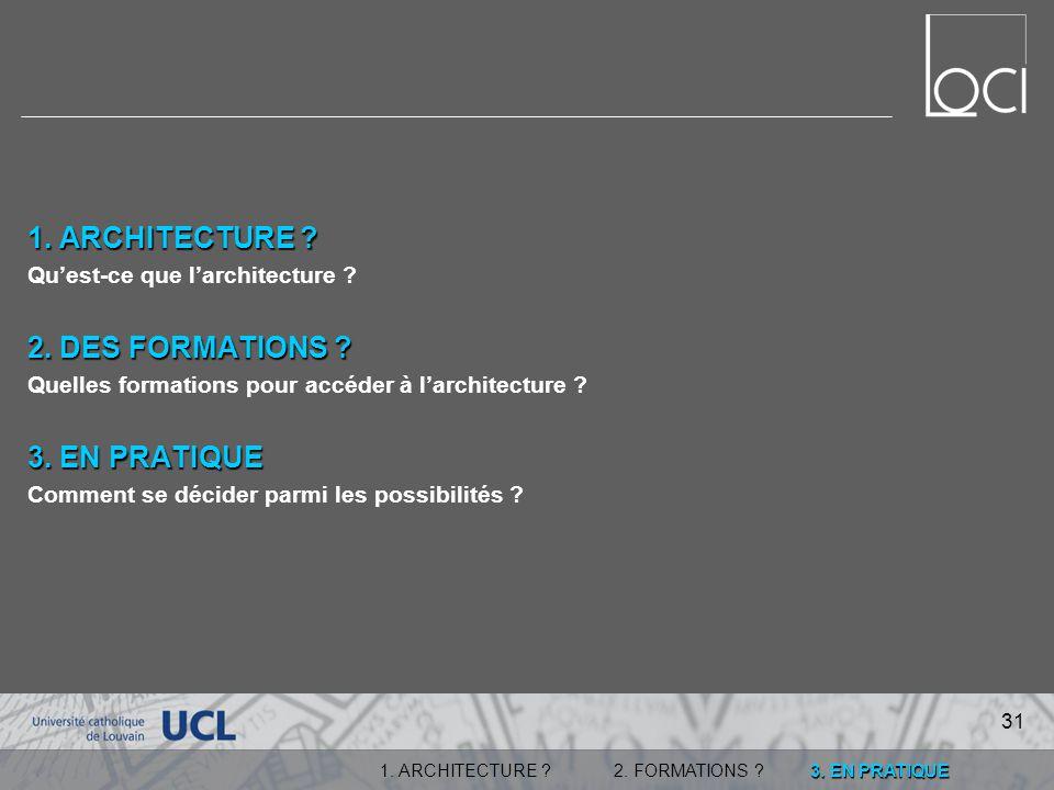 3.EN PRATIQUE 1. ARCHITECTURE ?2. FORMATIONS . 1.