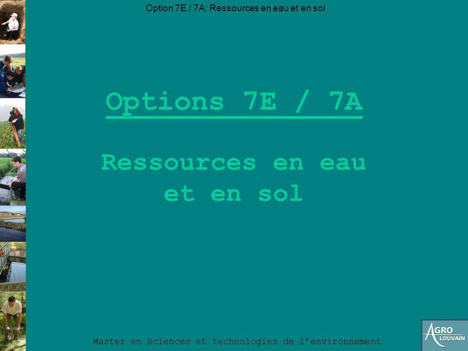 Option 7E / 7A: Ressources en eau et en sol Master en Sciences et technologies de lenvironnement Vous voulez… Contribuer à préserver la quantité et la qualité des eaux de surface et souterraines .