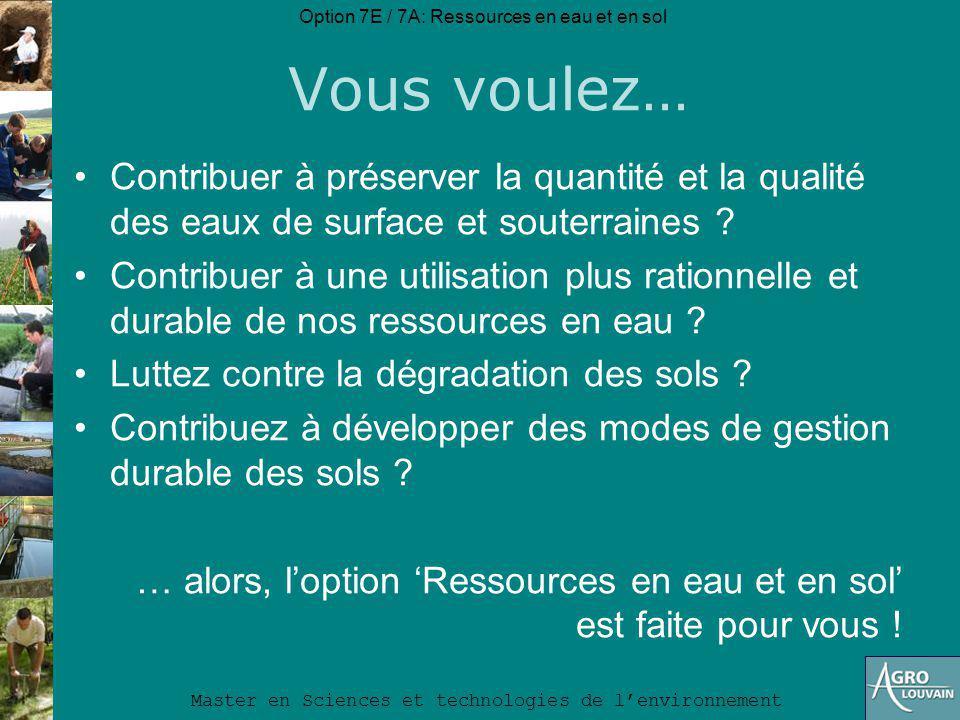 Option 7E / 7A: Ressources en eau et en sol Master en Sciences et technologies de lenvironnement Sujets de mémoire Sujets de mémoire (après indentification): http://www.uclouvain.be/350645.html
