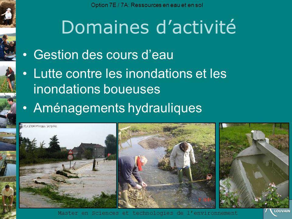 Option 7E / 7A: Ressources en eau et en sol Master en Sciences et technologies de lenvironnement Métiers et employeurs ONGs et ASBL: Contrats de rivières, NITRAWAL, Conseiller en agri-environnement, … Organismes internationaux : FAO, UNEP, Agences de bassin (Nil, Congo, Niger,...), … Recherche et formation : –Universités belges et étrangères –Centres de recherche belges (CRAW, VITO, …) –Centres de recherche internationaux (ISPRA, ILRI, ICRISAT, IWMI,…)