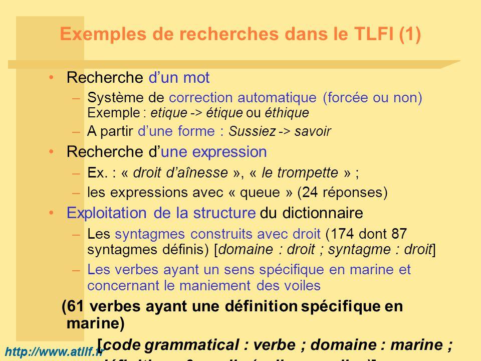 http://www.atilf.fr Exemples de recherches dans le TLFI (1) Recherche dun mot –Système de correction automatique (forcée ou non) Exemple : etique -> é