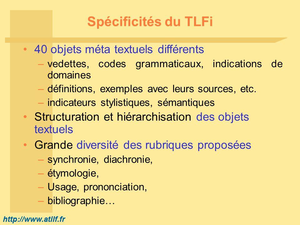 http://www.atilf.fr Spécificités du TLFi 40 objets méta textuels différents –vedettes, codes grammaticaux, indications de domaines –définitions, exemp