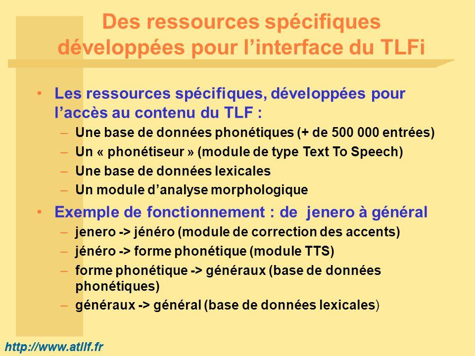http://www.atilf.fr Des ressources spécifiques développées pour linterface du TLFi Les ressources spécifiques, développées pour laccès au contenu du TLF : –Une base de données phonétiques (+ de 500 000 entrées) –Un « phonétiseur » (module de type Text To Speech) –Une base de données lexicales –Un module danalyse morphologique Exemple de fonctionnement : de jenero à général –jenero -> jénéro (module de correction des accents) –jénéro -> forme phonétique (module TTS) –forme phonétique -> généraux (base de données phonétiques) –généraux -> général (base de données lexicales)