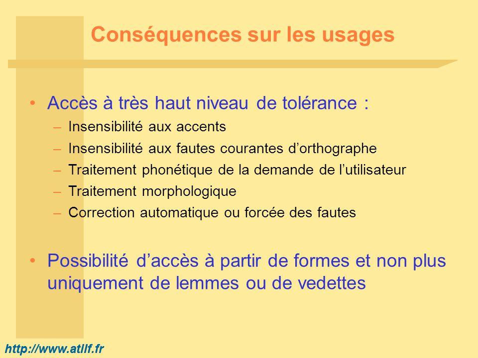 http://www.atilf.fr Conséquences sur les usages Accès à très haut niveau de tolérance : –Insensibilité aux accents –Insensibilité aux fautes courantes