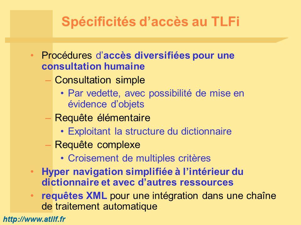 http://www.atilf.fr Exemples de recherches dans le TLFI (1) Recherche dun mot –Système de correction automatique (forcée ou non) Exemple : etique -> étique ou éthique –A partir dune forme : Sussiez -> savoir Recherche dune expression –Ex.