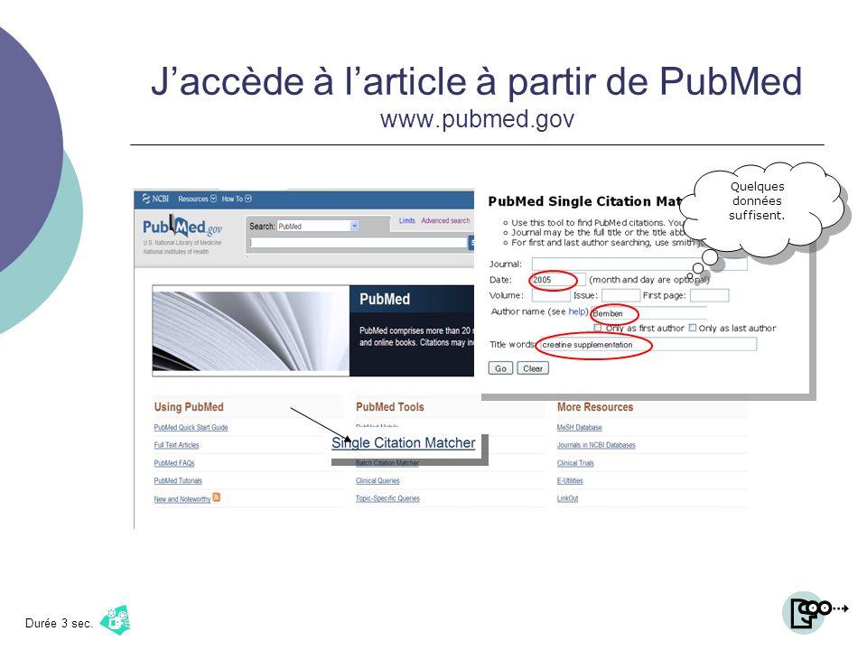 Jaccède à larticle à partir de PubMed www.pubmed.gov Durée 3 sec. Quelques données suffisent.