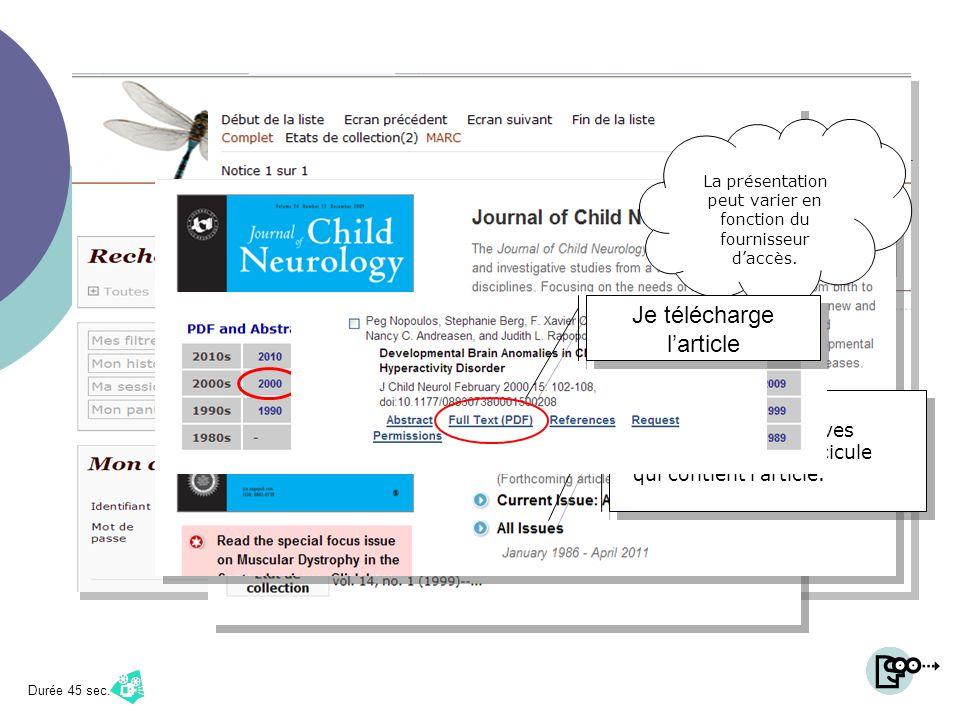 Journal of child neurology Je sélectionne le titre Ici, il sagit de la version électronique Larticle que je recherche a été publié en 2000… Je vérifie