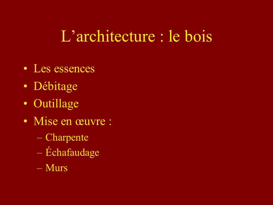 Larchitecture : le bois Les essences Débitage Outillage Mise en œuvre : –Charpente –Échafaudage –Murs