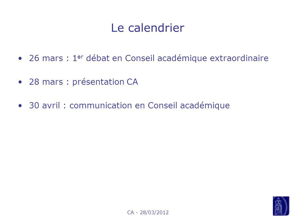 CA - 28/03/2012 Le calendrier 26 mars : 1 er débat en Conseil académique extraordinaire 28 mars : présentation CA 30 avril : communication en Conseil académique