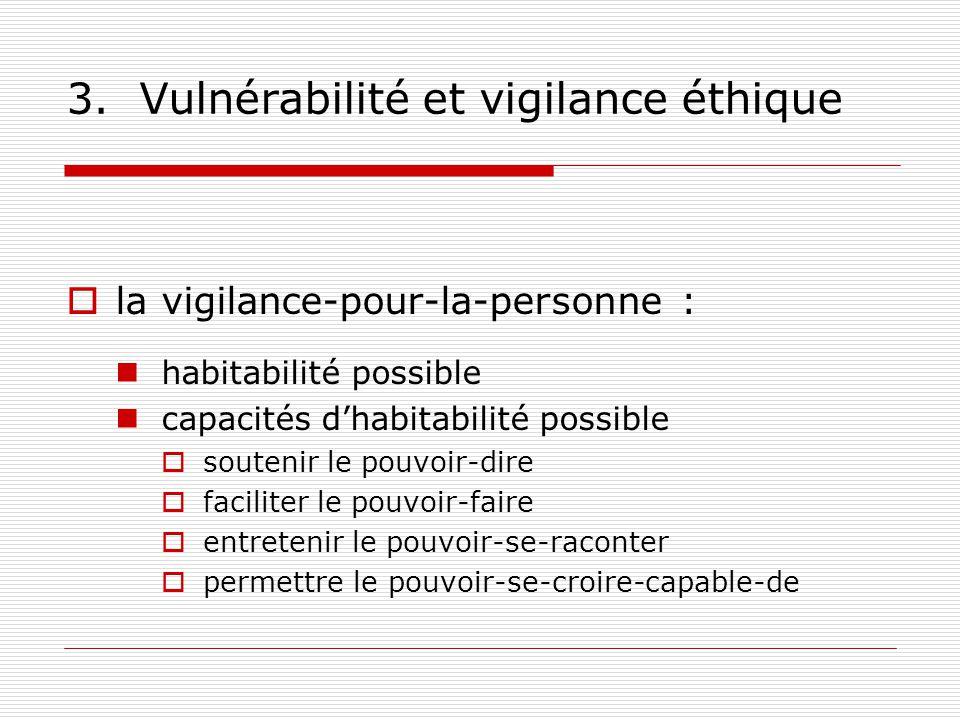 3. Vulnérabilité et vigilance éthique la vigilance-pour-la-personne : habitabilité possible capacités dhabitabilité possible soutenir le pouvoir-dire