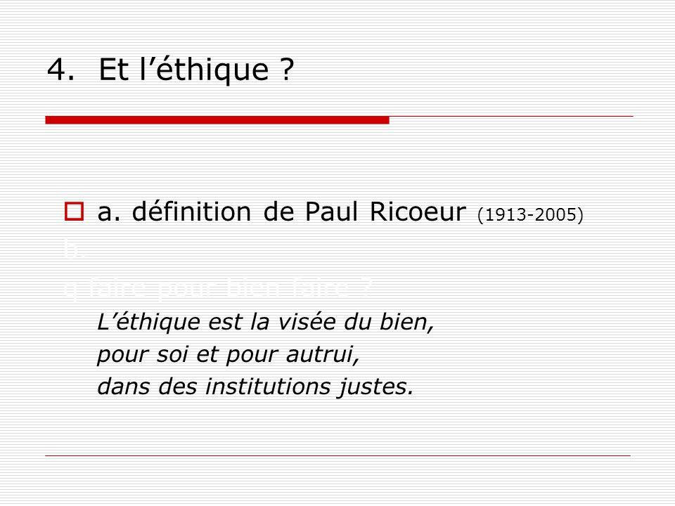 4.Et léthique . a. définition de Paul Ricoeur b. Que faire pour bien faire .