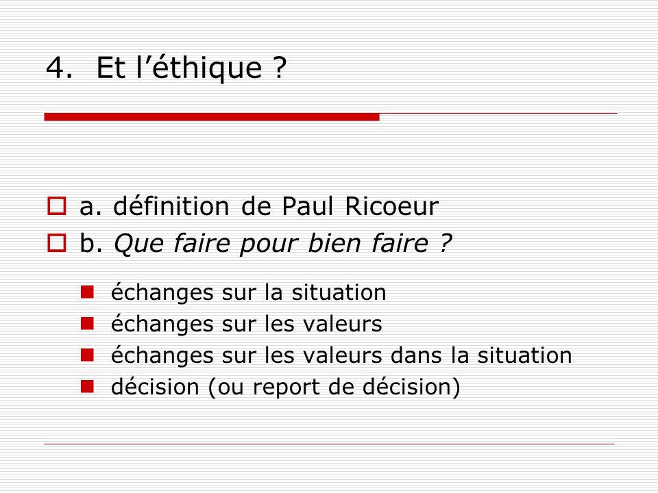4. Et léthique . a. définition de Paul Ricoeur b.