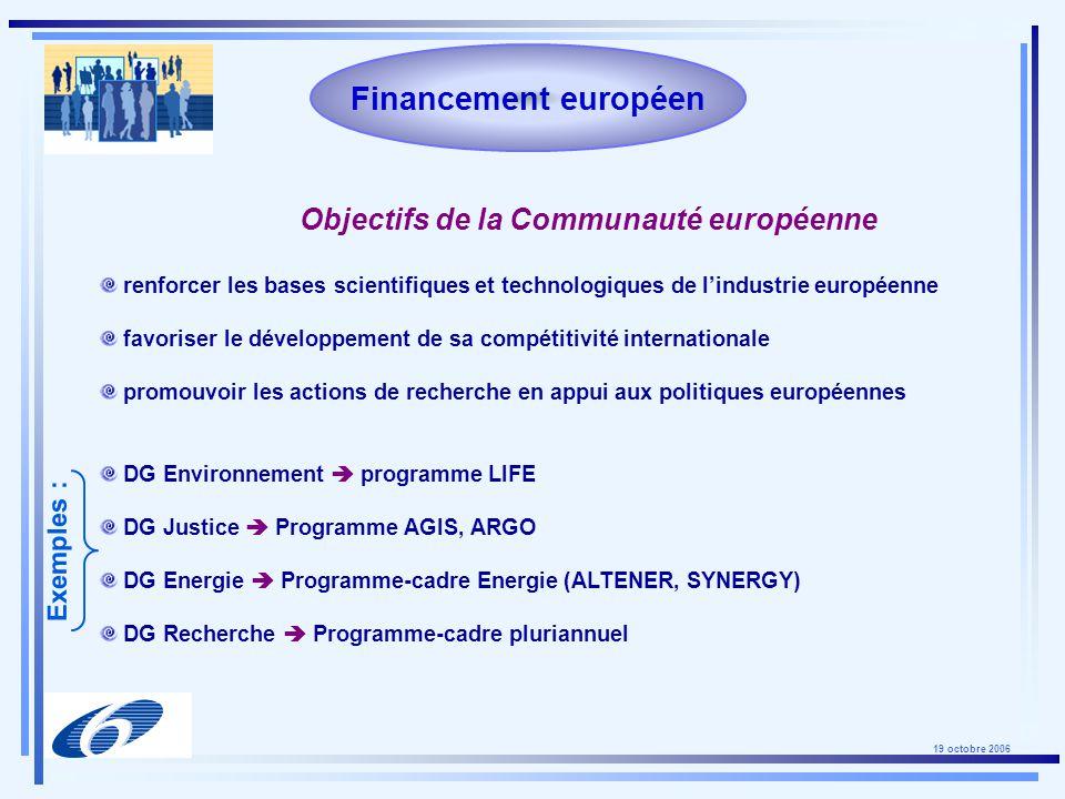19 octobre 2006 FP7 - Stratégies de participation Identifier un projet dans votre domaine de recherche : Utiliser la banque de données des projets FP6 : : http://cordis.europa.eu./fp6/projects.htm Utiliser la banque de données des manifestations dintérêt (EoI) : : http://cordis.europa.eu./eoi/ Utiliser la banque de données de Cordis pour : faire connaître vos compétences spécifiques; examiner les demandes de partenariat : http://cordis.europa.eu/partners-service/ Participer en tant quexpert à lévaluation de projets : : https://cordis.europa.eu/emmfp6/
