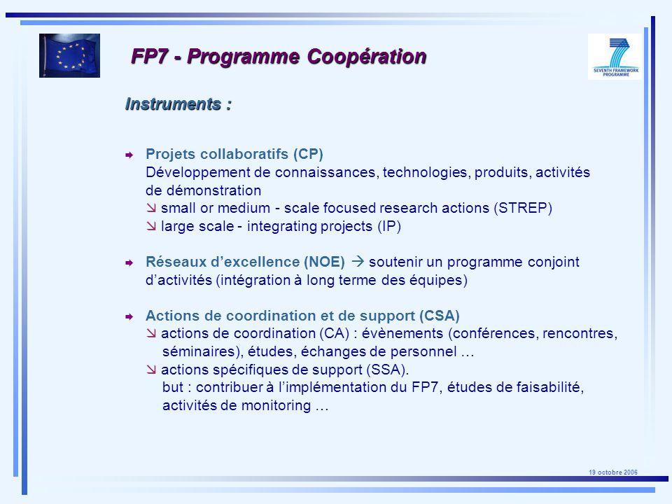 19 octobre 2006 FP7 - Programme Coopération Regroupement des acteurs européens de pointe dans des domaines technologiques dimportance stratégique pour lEurope (nano-médecine, acier, chimie durable …).