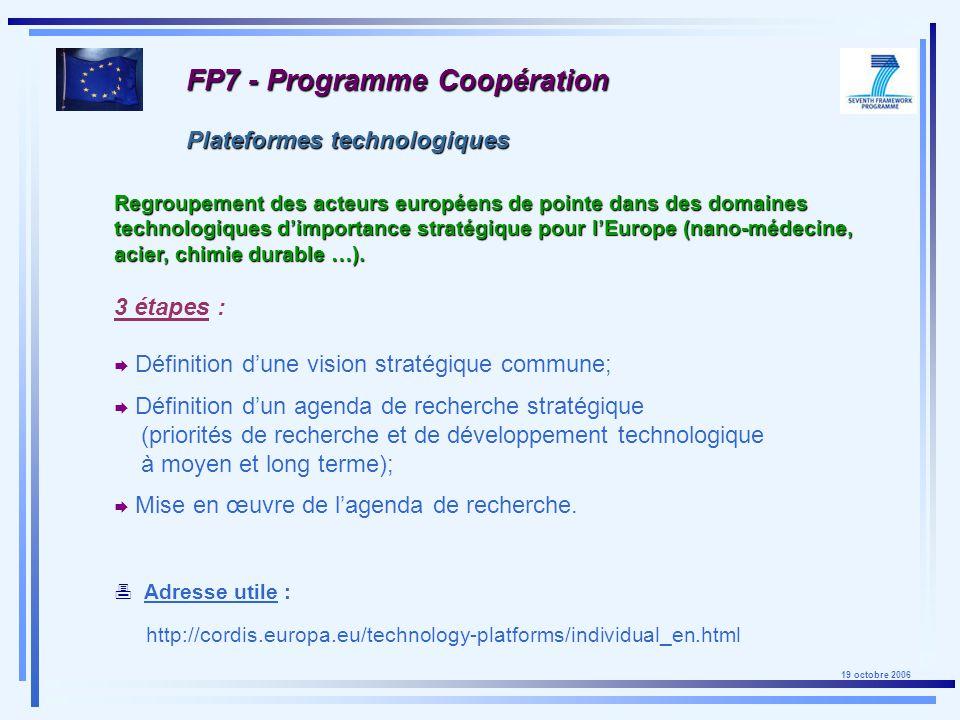 19 octobre 2006 FP7 - Plateformes technologiques
