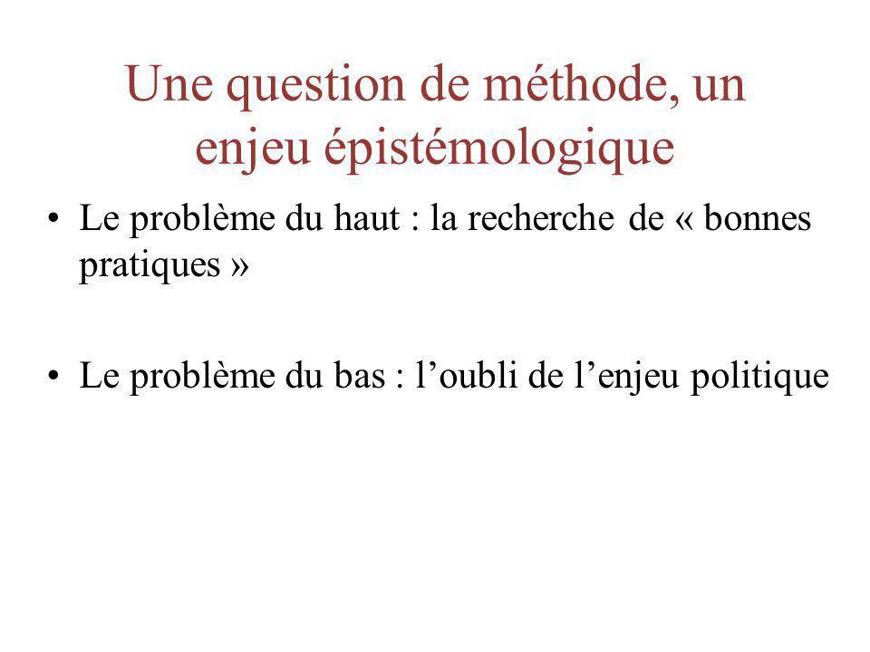 Une question de méthode, un enjeu épistémologique Le problème du haut : la recherche de « bonnes pratiques » Le problème du bas : loubli de lenjeu pol