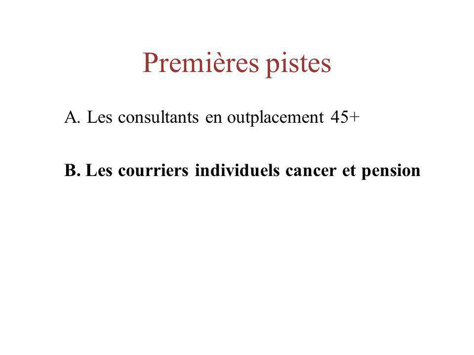 Premières pistes A. Les consultants en outplacement 45+ B. Les courriers individuels cancer et pension