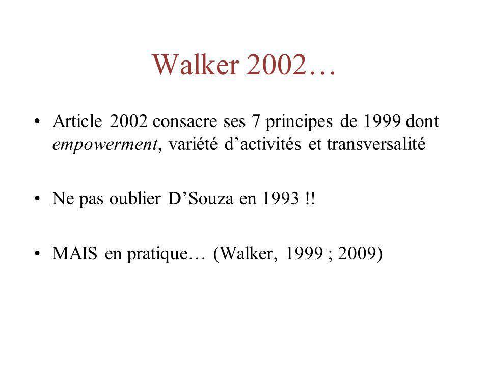 Walker 2002… Article 2002 consacre ses 7 principes de 1999 dont empowerment, variété dactivités et transversalité Ne pas oublier DSouza en 1993 !! MAI