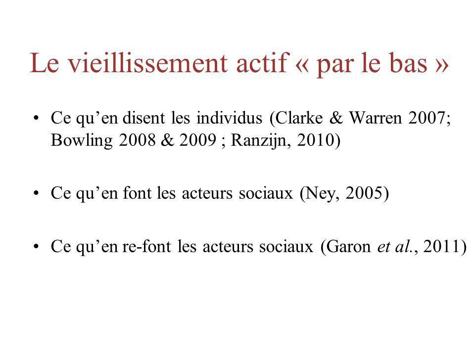 Le vieillissement actif « par le bas » Ce quen disent les individus (Clarke & Warren 2007; Bowling 2008 & 2009 ; Ranzijn, 2010) Ce quen font les acteu