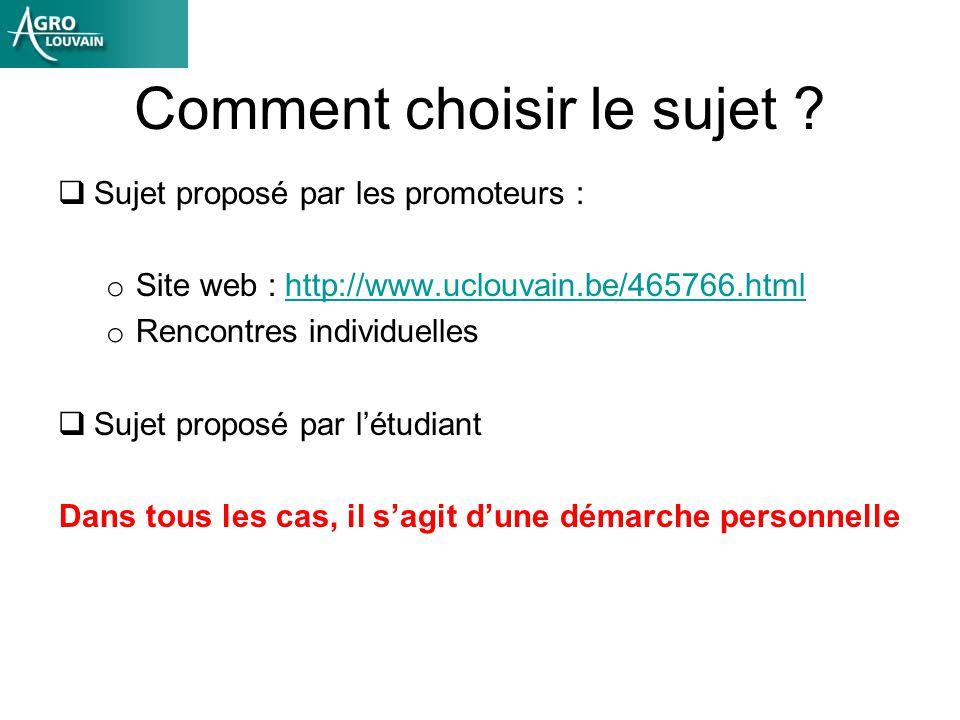 Comment choisir le sujet ? Sujet proposé par les promoteurs : o Site web : http://www.uclouvain.be/465766.htmlhttp://www.uclouvain.be/465766.html o Re