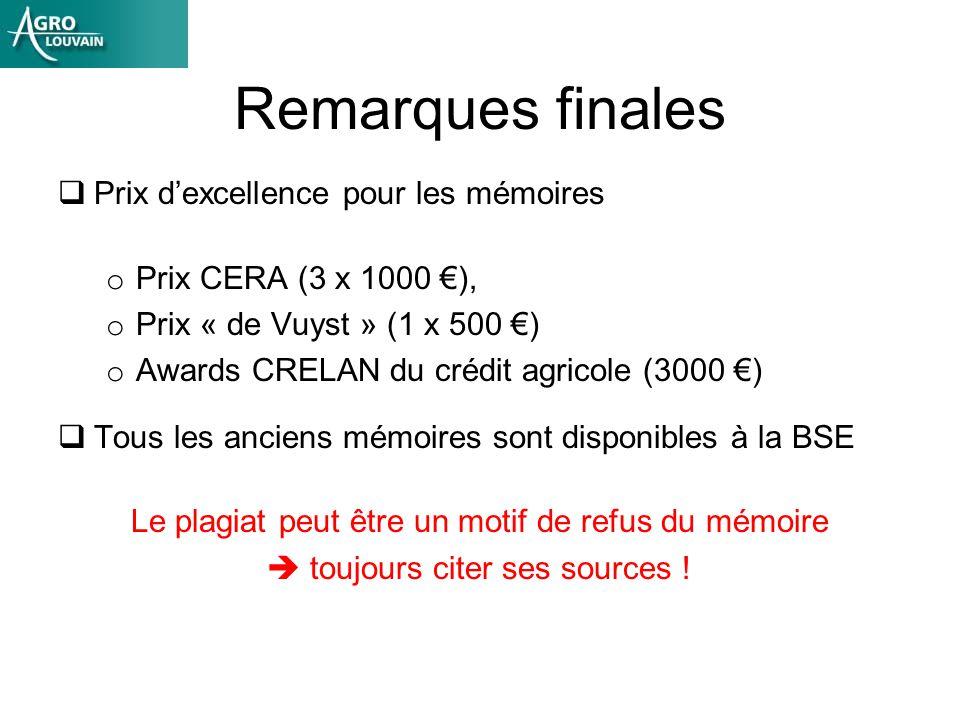 Remarques finales Prix dexcellence pour les mémoires o Prix CERA (3 x 1000 ), o Prix « de Vuyst » (1 x 500 ) o Awards CRELAN du crédit agricole (3000