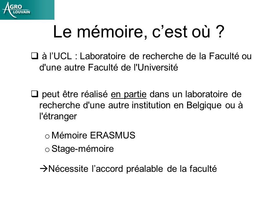 Le mémoire, cest où ? à lUCL : Laboratoire de recherche de la Faculté ou d'une autre Faculté de l'Université peut être réalisé en partie dans un labor