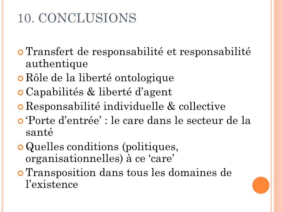 10. CONCLUSIONS Transfert de responsabilité et responsabilité authentique Rôle de la liberté ontologique Capabilités & liberté dagent Responsabilité i