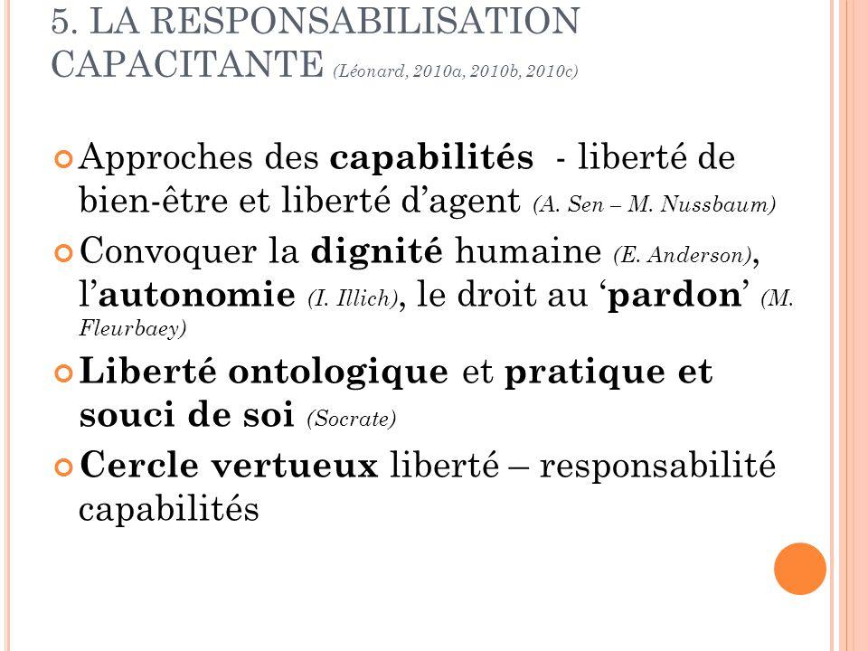 5. LA RESPONSABILISATION CAPACITANTE (Léonard, 2010a, 2010b, 2010c) Approches des capabilités - liberté de bien-être et liberté dagent (A. Sen – M. Nu