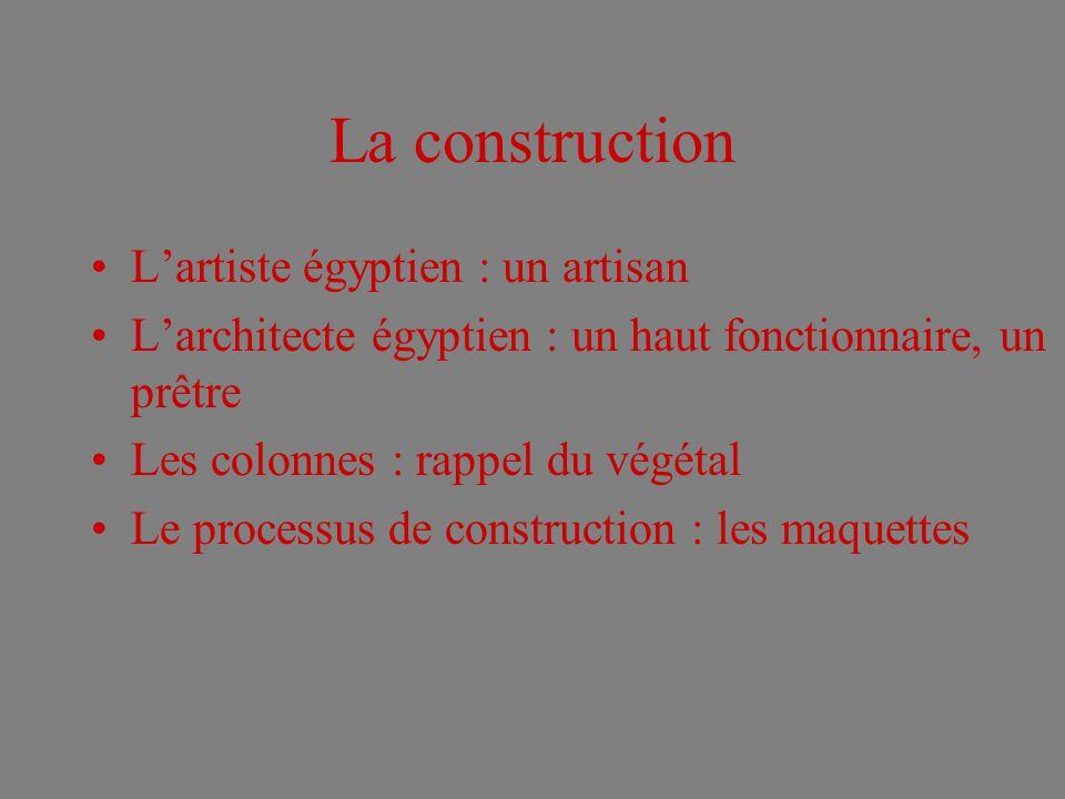 La construction Lartiste égyptien : un artisan Larchitecte égyptien : un haut fonctionnaire, un prêtre Les colonnes : rappel du végétal Le processus de construction : les maquettes