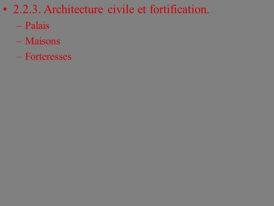 2.2.3. Architecture civile et fortification. –Palais –Maisons –Forteresses