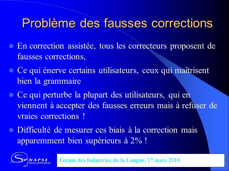Problème des fausses corrections En correction assistée, tous les correcteurs proposent de fausses corrections, Ce qui énerve certains utilisateurs, c