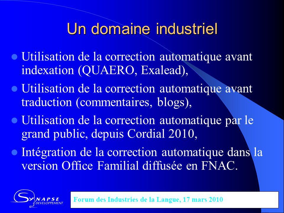 Un domaine industriel Utilisation de la correction automatique avant indexation (QUAERO, Exalead), Utilisation de la correction automatique avant trad