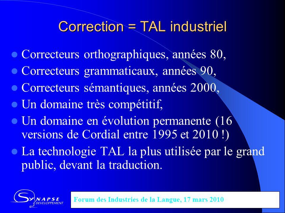Correction = TAL industriel Correcteurs orthographiques, années 80, Correcteurs grammaticaux, années 90, Correcteurs sémantiques, années 2000, Un doma