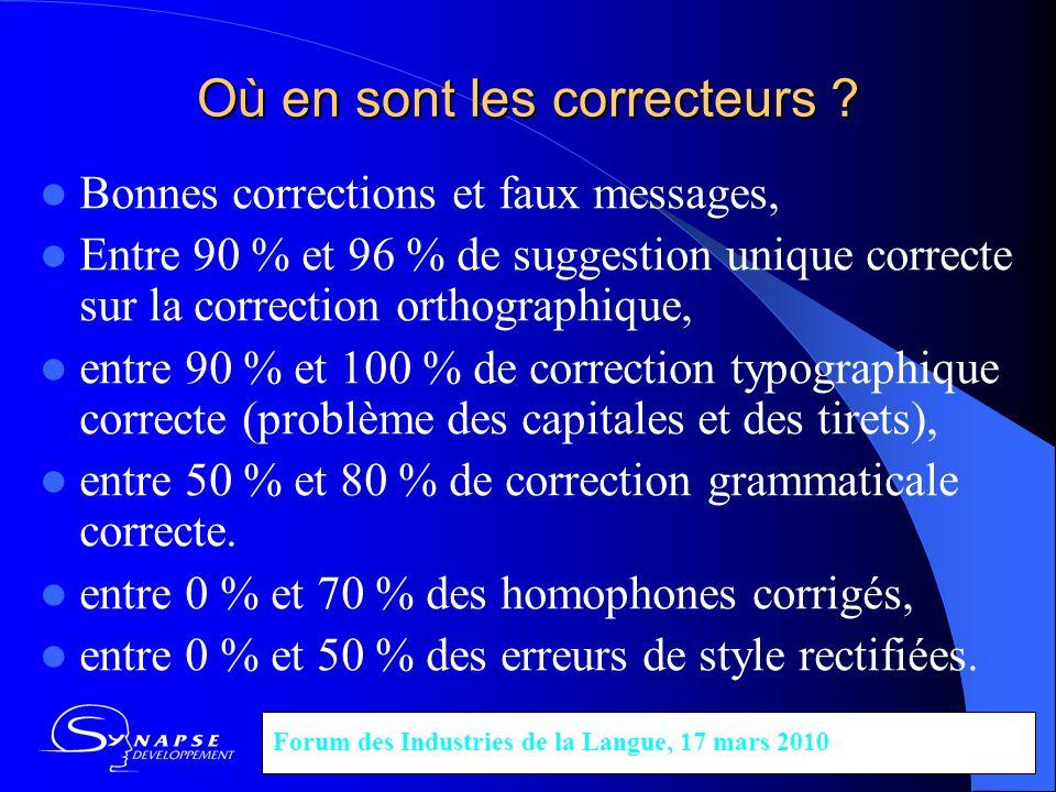 Où en sont les correcteurs ? Bonnes corrections et faux messages, Entre 90 % et 96 % de suggestion unique correcte sur la correction orthographique, e