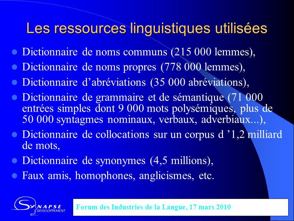 Les ressources linguistiques utilisées Dictionnaire de noms communs (215 000 lemmes), Dictionnaire de noms propres (778 000 lemmes), Dictionnaire dabr
