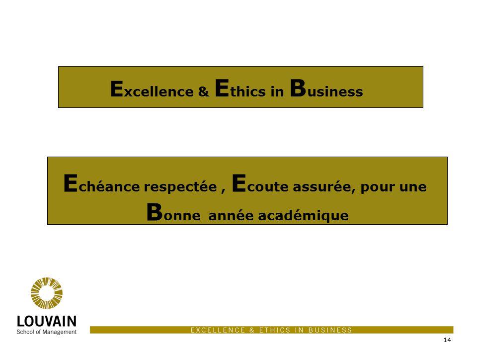 14 E xcellence & E thics in B usiness E chéance respectée, E coute assurée, pour une B onne année académique