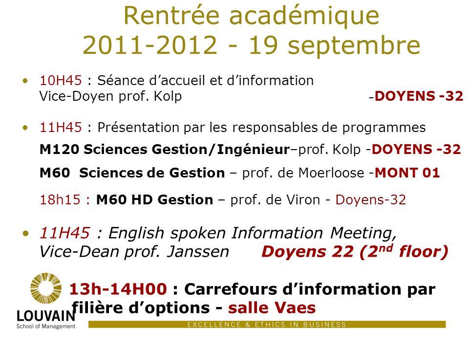 Rentrée académique 2011-2012 - 19 septembre 10H45 : Séance daccueil et dinformation Vice-Doyen prof. Kolp – DOYENS -32 11H45 : Présentation par les re