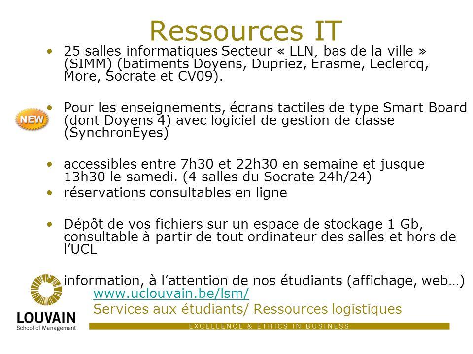 Ressources IT 25 salles informatiques Secteur « LLN  bas de la ville » (SIMM) (batiments Doyens, Dupriez, Érasme, Leclercq, More, Socrate et CV09). P