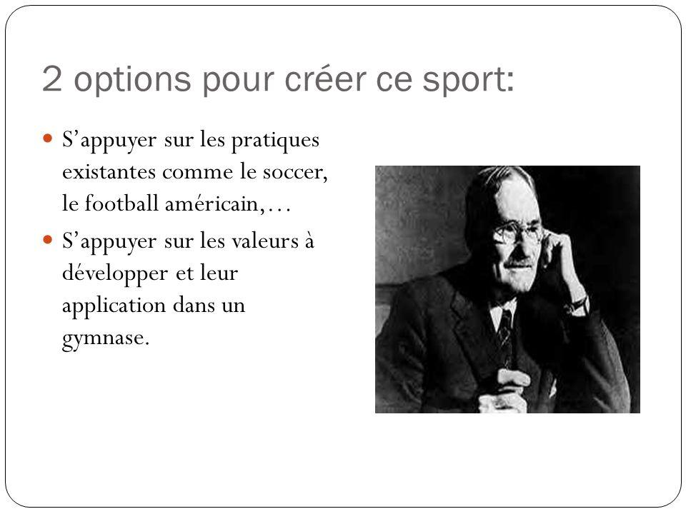 2 options pour créer ce sport: Sappuyer sur les pratiques existantes comme le soccer, le football américain,… Sappuyer sur les valeurs à développer et leur application dans un gymnase.