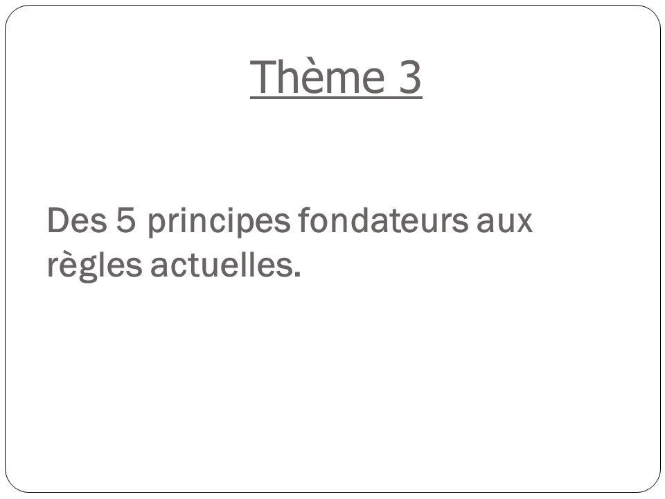 Des 5 principes fondateurs aux règles actuelles. Thème 3