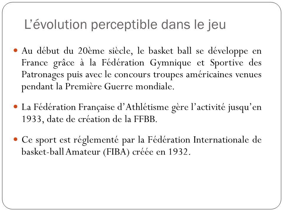 Lévolution perceptible dans le jeu Au début du 20ème siècle, le basket ball se développe en France grâce à la Fédération Gymnique et Sportive des Patronages puis avec le concours troupes américaines venues pendant la Première Guerre mondiale.