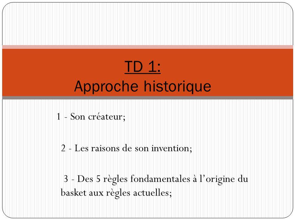 1 - Son créateur; 2 - Les raisons de son invention; 3 - Des 5 règles fondamentales à lorigine du basket aux règles actuelles; TD 1: Approche historique