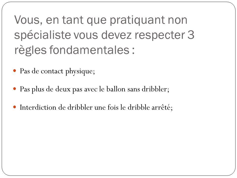 Vous, en tant que pratiquant non spécialiste vous devez respecter 3 règles fondamentales : Pas de contact physique; Pas plus de deux pas avec le ballon sans dribbler; Interdiction de dribbler une fois le dribble arrêté;