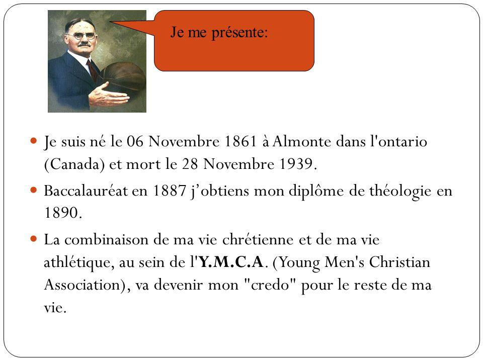 Je suis né le 06 Novembre 1861 à Almonte dans l ontario (Canada) et mort le 28 Novembre 1939.