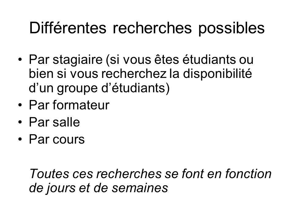 Différentes recherches possibles Par stagiaire (si vous êtes étudiants ou bien si vous recherchez la disponibilité dun groupe détudiants) Par formateu