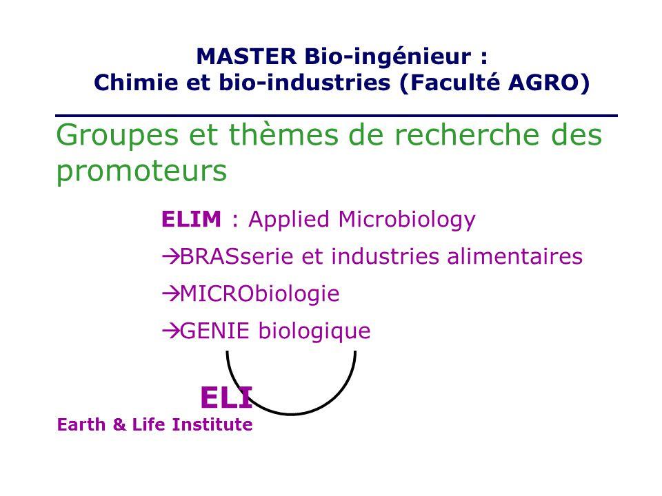 ELI Earth & Life Institute Groupes et thèmes de recherche des promoteurs ELIM : Applied Microbiology BRASserie et industries alimentaires MICRObiologi
