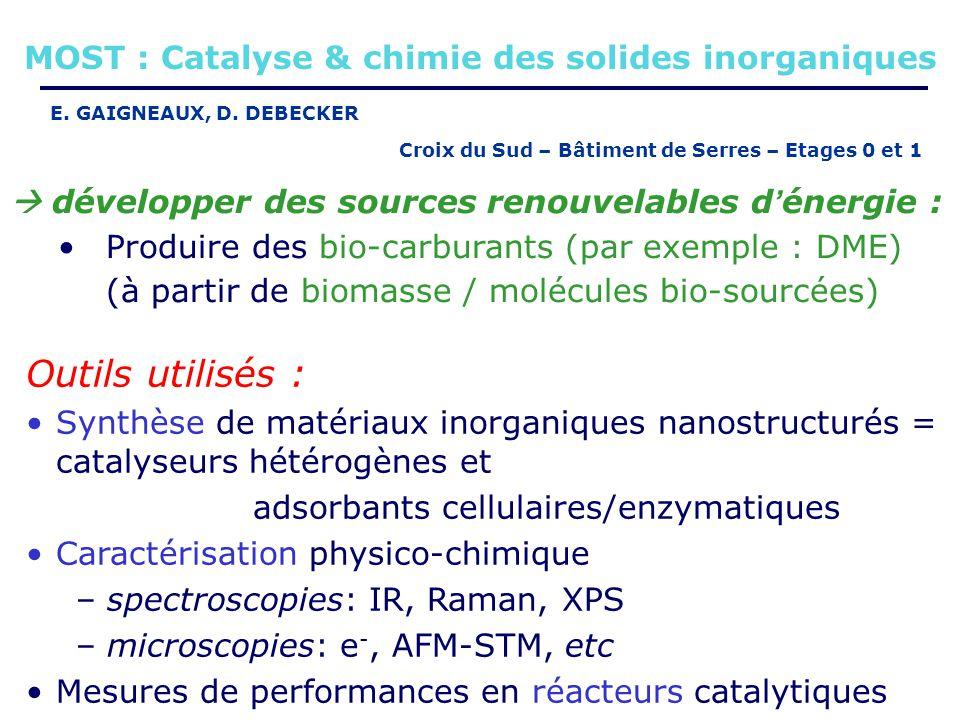 développer des sources renouvelables d énergie : Produire des bio-carburants (par exemple : DME) (à partir de biomasse / molécules bio-sourcées) Outil